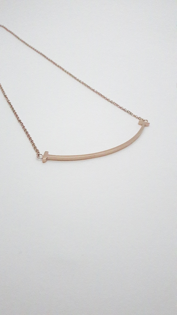 Rose Gold plated Curved Bar Smile Necklace on stainless steel Minimalist simple hypoallergenic//Gift for her//Steel plated jewelry