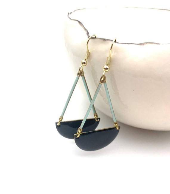 Long Earrings Black and green mint enamel semi-circle with gold tone stainless steel hooks