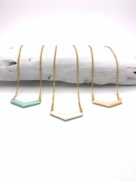 Chevron Pastel Necklace gold tone stainless steel chain color enamel pendant