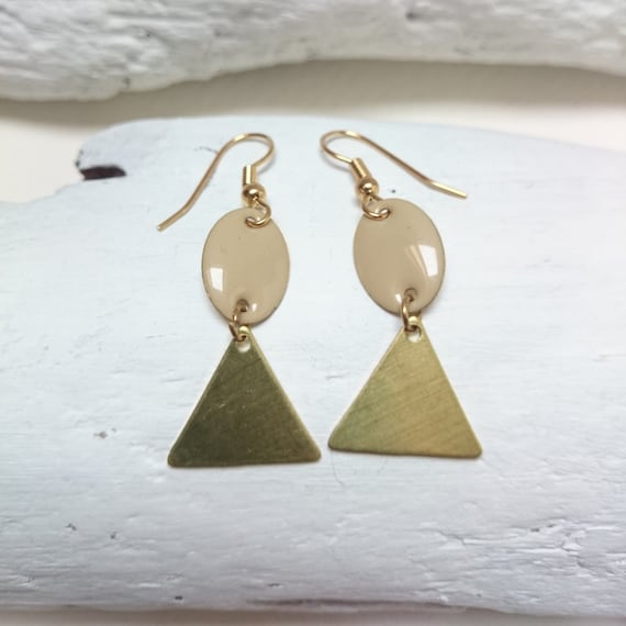 Gold and nude Geometric Pendants Earrings Dangles brass triangles and beige enamel ovals with stainless steel earwires hypoallergenic