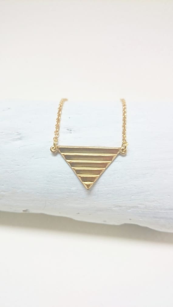 Triangle necklace with raw brass pendant and stainless steel chain