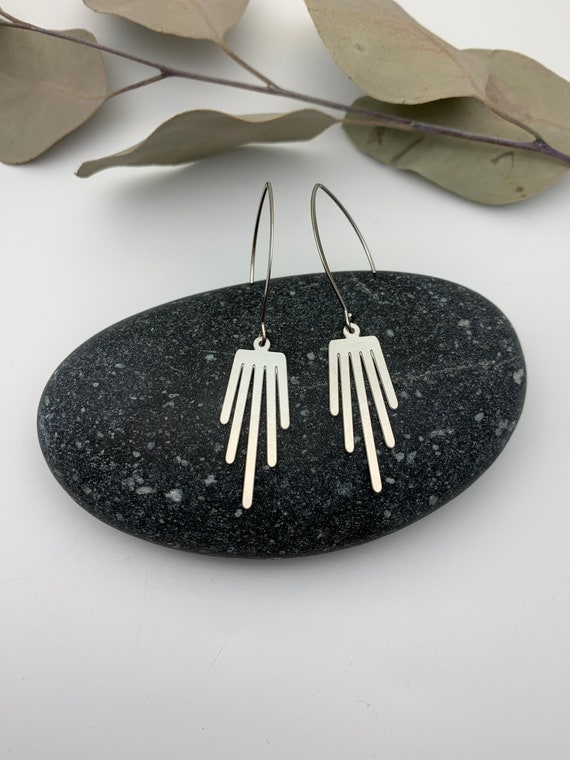 Silver Earrings VERTICAL dangle stainless steel