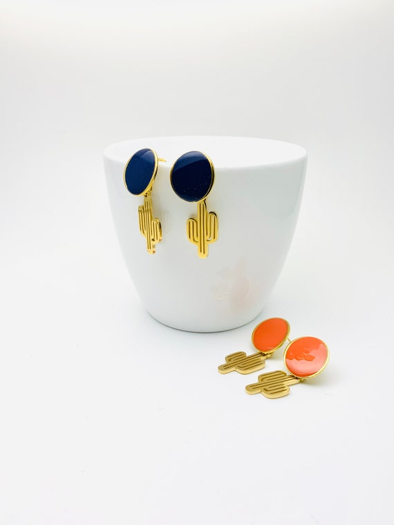Cactus Earrings Color Enamel Gold Stainless Steel