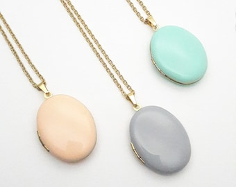 Oval Photo Locket Enamel Necklace//Long gold surgical steel chain Locket necklace//Hypoallergenic pastel color photo locket peach mint gray