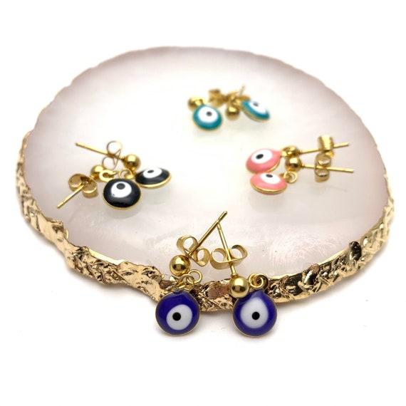 Evil Eye Earrings Color Enamel Gold Stainless Steel
