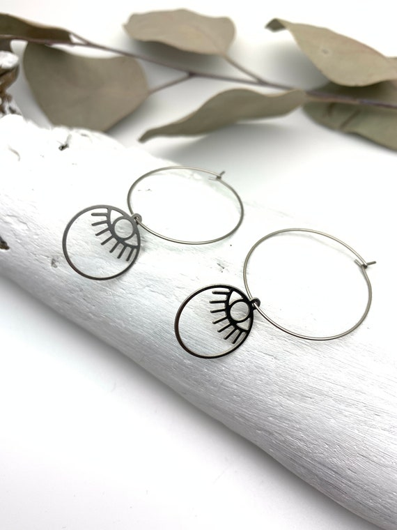 Silver Hoops Earrings EYES stainless steel