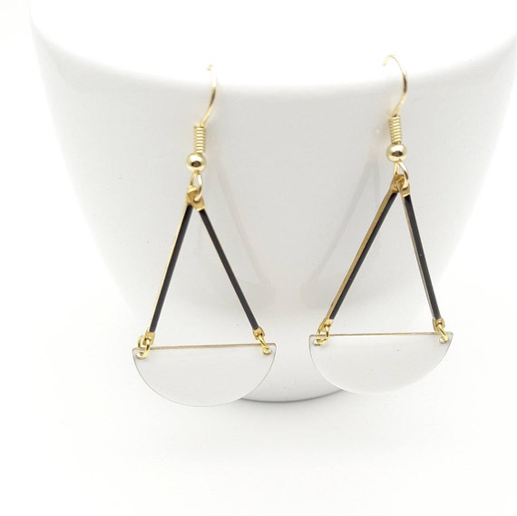 White Enamel earrings//Long geometric semi circle gold steel closures dangles//White Black Gold graphic enamel Hypoallergenic earrings