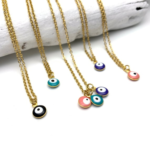 Evil Eye Necklace Color Enamel Gold Stainless Steel