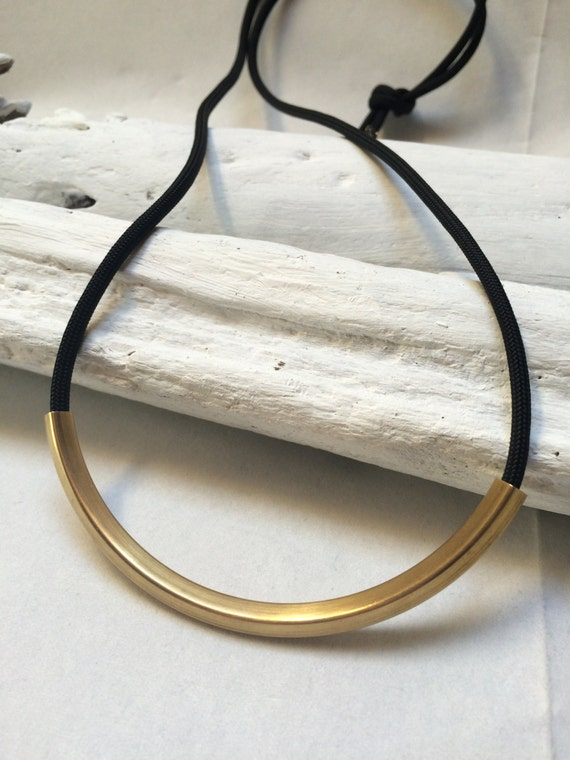 Black Rope Gold Brass Tube Necklace//Long Necklace cord tube pendant//Fabric brass necklace//Black gold necklace//Black cord Tube necklace