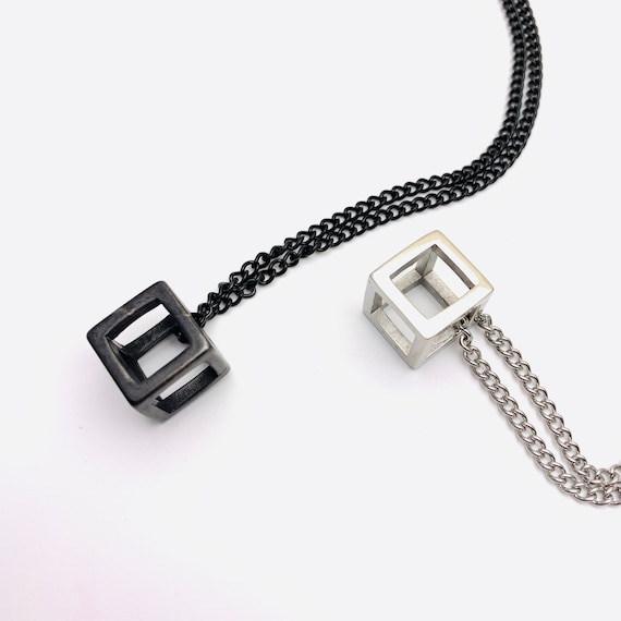 Cube Necklace black or silver plated stainless steel