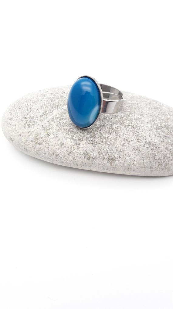 Blue Agate Ring silver stainless steel adjustable hypoallergenic Oval cabochon natural gemstone 18x13 mm simple minimalist gift for her
