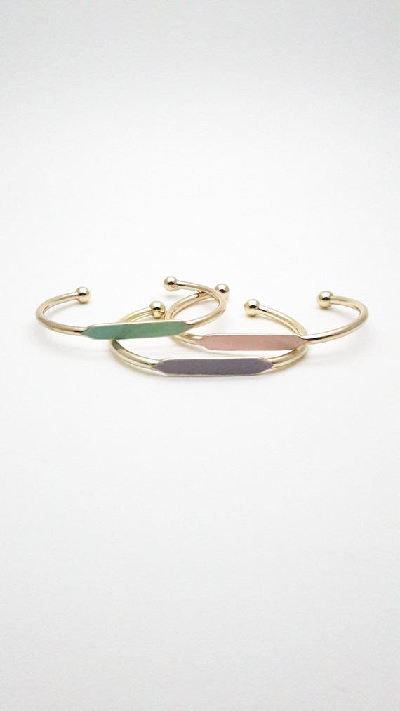 Color hand painted golden brass adjustable bangle bracelet pink mint or grey//Gold ID bangles cuff//Gold hypoallergenic bangle