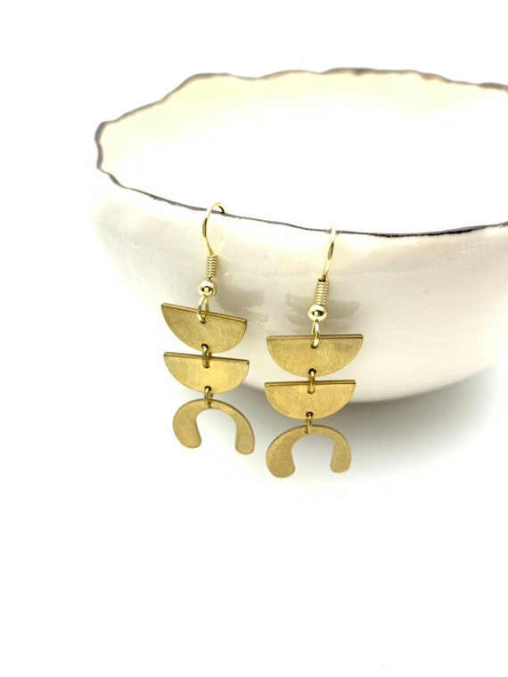 Gold Earrings geometric brushed brass pendants with steel hooks