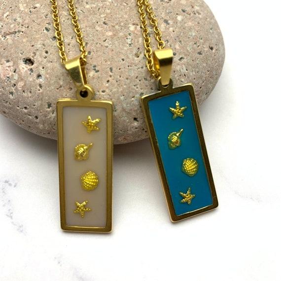 Shells & Stars Necklace, Resin Rectangle Pendant gold steel