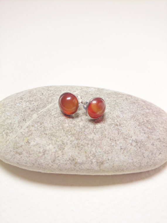 Carnelian studs earrings 8 mm silver steel hypoallergenic orange brown red gem