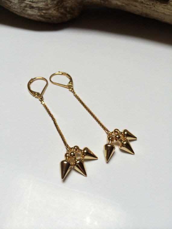 Gold Spike Pendants Earrings 16k gold plated with gold plated 18k closures