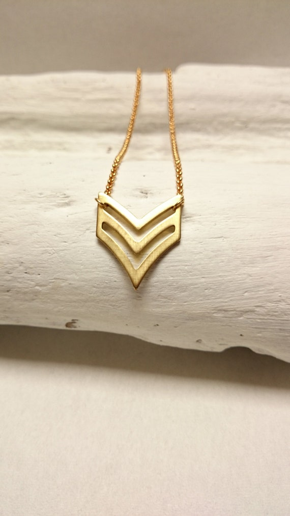 Gold Chevron Geometrical Necklace stainless steel Chain Brass Pendant//Gold Chevron necklace//Gold V necklace//Hypoallergenic necklace