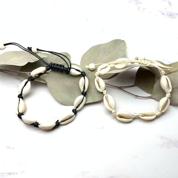Cowrie Bracelet real seashell black or beige cord