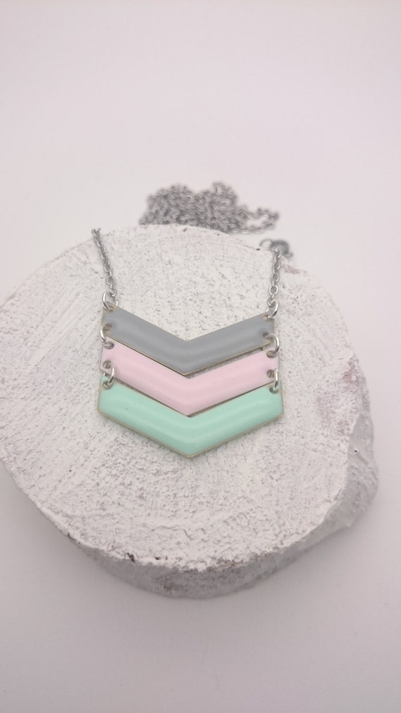 Chevron Necklace Pastel Enamel Grey, Pink and Mint and silver stainless steel chain hypoallergenic