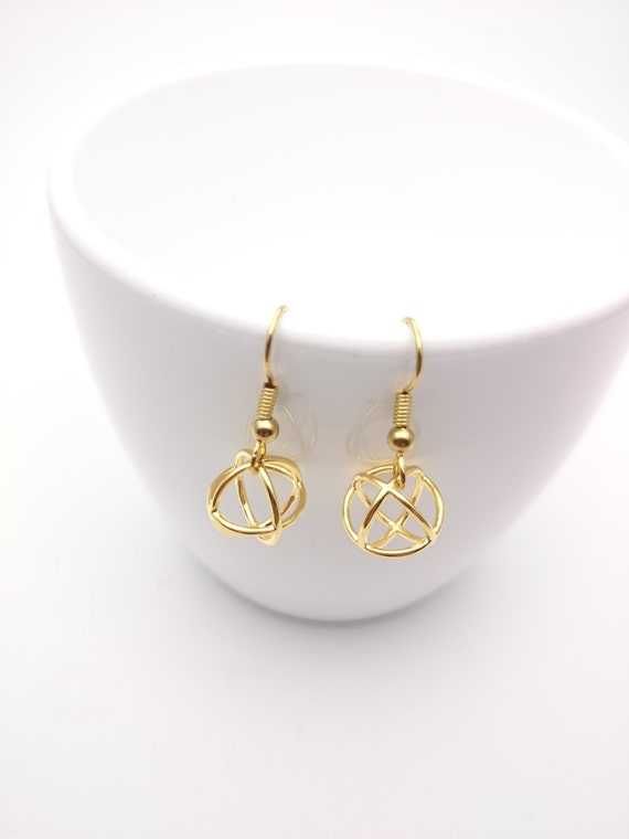 Gold Ball Earrings wire steel closures//Small Gold plated 24k Round ball pendants 3D hypoallergenic//Gold Ball drop dangle minimal earrings