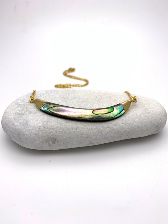 Abalone Shell Necklace smile gold dipped pendant and stainless steel chain