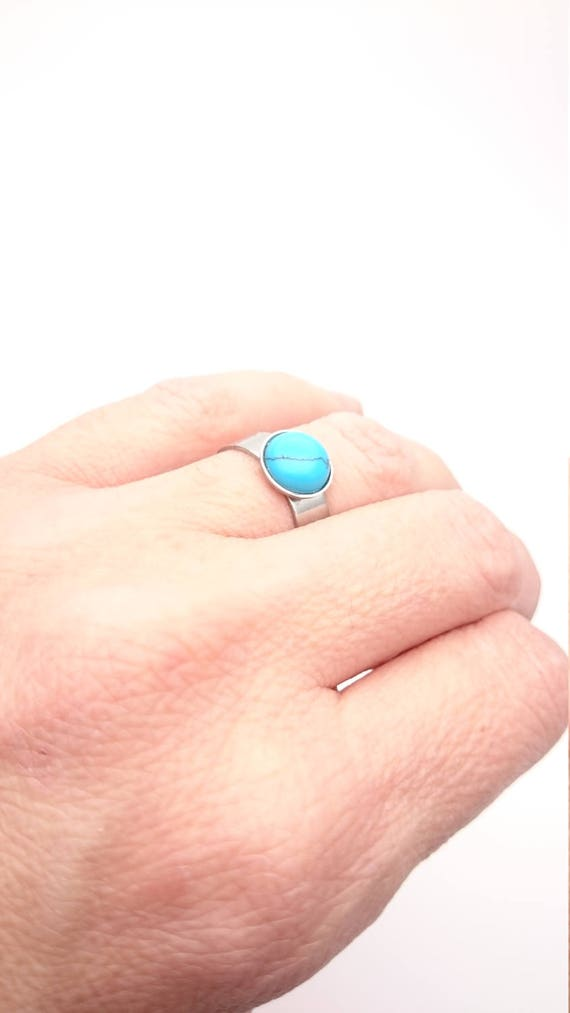 Turquoise Ring silver steel adjustable and round real blue tuquoise gem