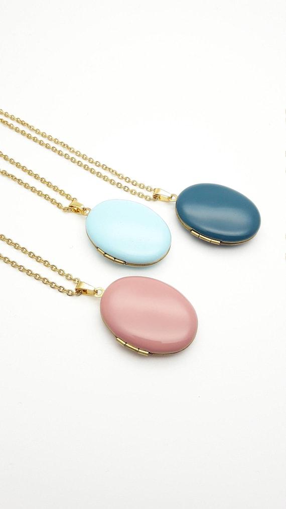 Oval Photo Locket Enamel Necklace//Long gold surgical steel chain Locket pendant//Hypoallergenic color locket old pink sky blue teal blue