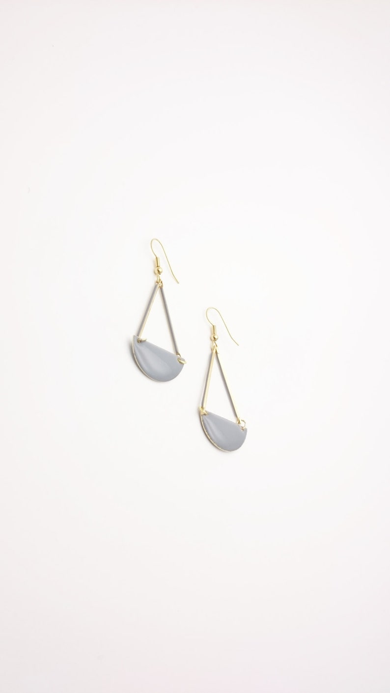 Gray Enamel earringsLong geometric semi circle gold steel closures danglesGrey enamel Hypoallergenic earringsGrey graphic Earrings