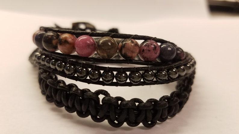 Triple Wrap Leather and Hematite Bracelet