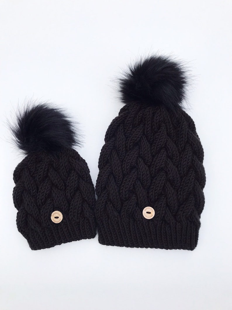 Mommy & Me Set   Cable Knit Hat image 0