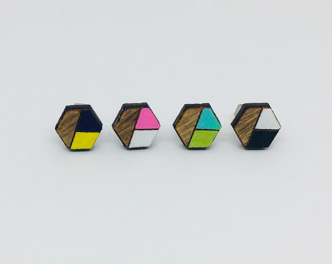 Color Hex || WOOD CUT || Hexagon Earrings || Custom Made || Hand Painted Jewelry || Stud Earring
