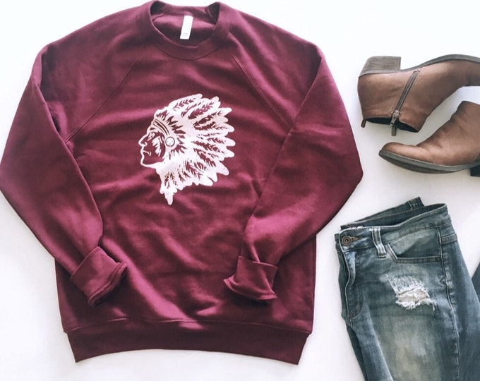 VIntage Inspired Indian Mascot || super soft sweatshirt || Team Gear