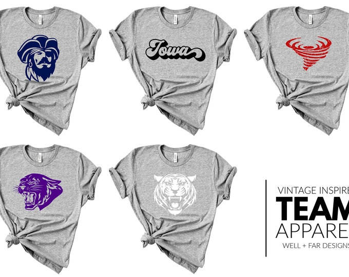 Vintage Inspired || Team Apparel || Heather Grey || TShirt