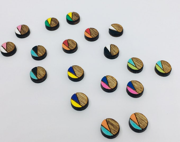 Color Round || WOOD CUT || Earrings || Custom Made || Hand Painted Jewelry || Stud Earring