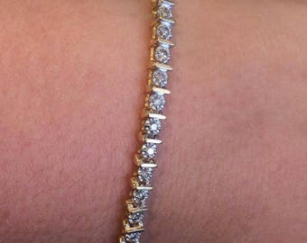0.69ct 14K Yellow Gold Diamond Tennis Bracelet