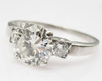 1.45 ct Diamond in Vintage Platinum Mounting with Diamond Accents