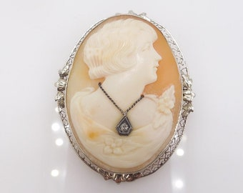 Antique Shell Cameo Pin Brooch in 14K White Gold Filigree Frame