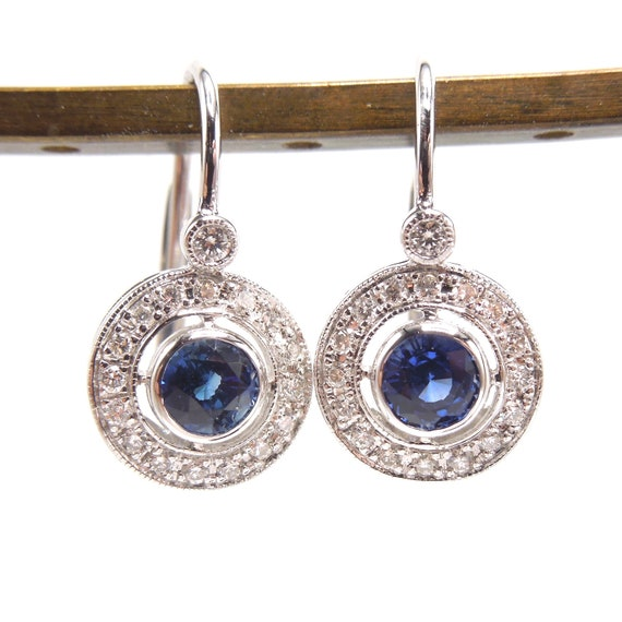 Art Deco Style Diamond And Sapphire Lever Back Drop Earrings Etsy