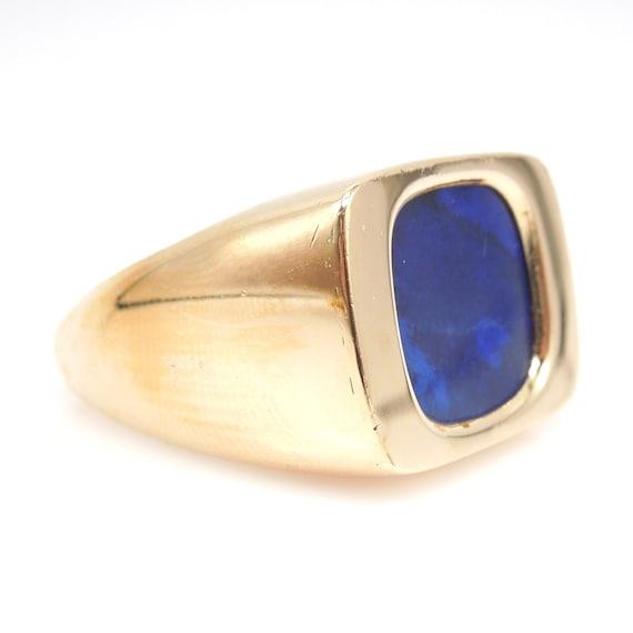 Large 18K and Lapis Lazuli Men's Ring