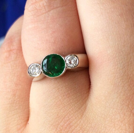 40708075b225ca Colombian Emerald and Diamond Ring in 18K White Gold | Etsy