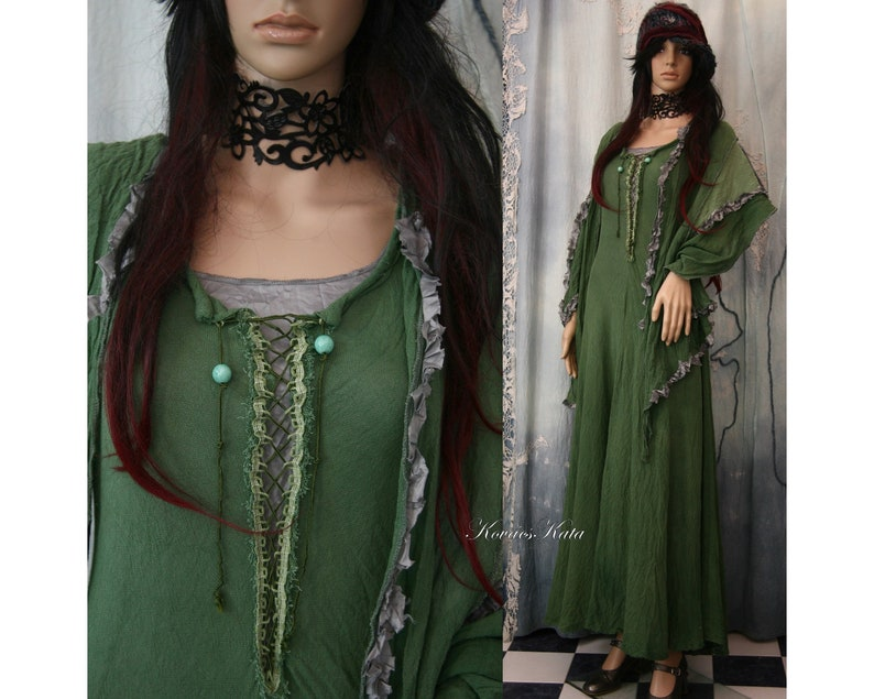 611154f647 Kirtle Green Design Clothes Hand Dyed Medieval Style 3