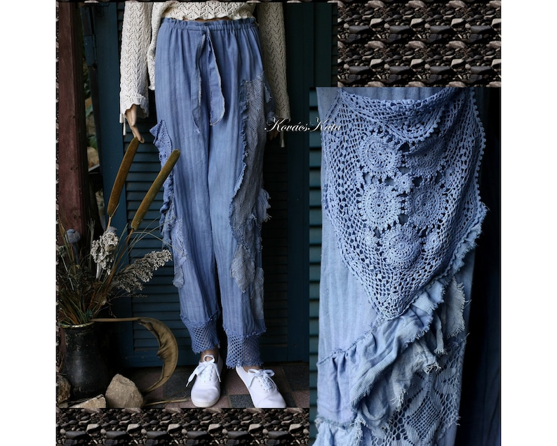 0332d10fbe Lizy Blue Romantic Lagenlook Handdyed Appliqued Pants with
