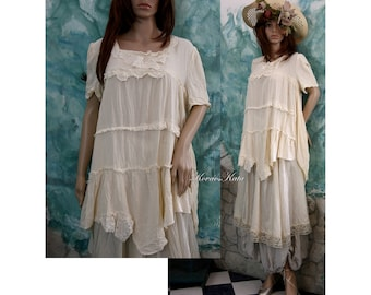 Gyorgyi - Romantic Georgette Tunic Blouse with Lace OOAK
