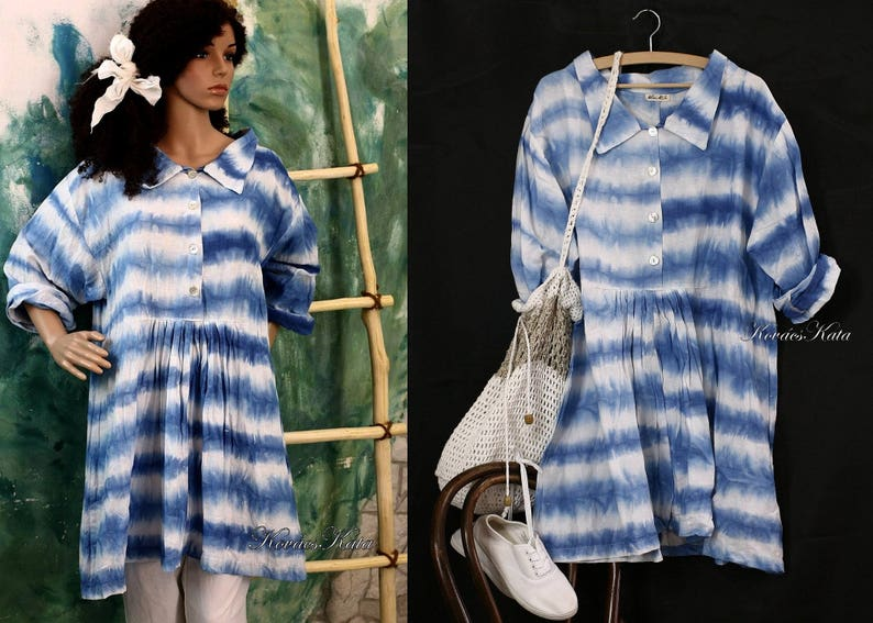 Annie Blue Extravagant Hand Dyed Batik Dress Linen Babydoll Dress Lagenlook Clothing