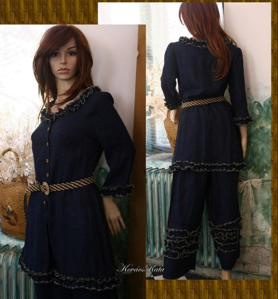 c9c4a71bb8 Livia Two Parted Dress Bohemian Romantic Dark-Blue Linen