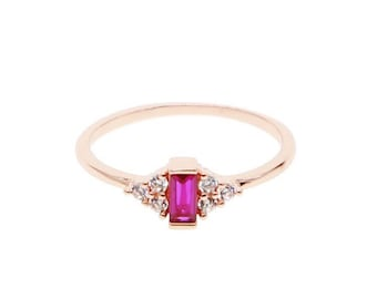 eb7253e1609700 Ruby Ring / Baguette Ruby Ring / Rose Gold Minimalist Ruby Ring / Statement  Ring / Dainty Ring Ruby Ring / July Birthstone Ring/Cluster Ring
