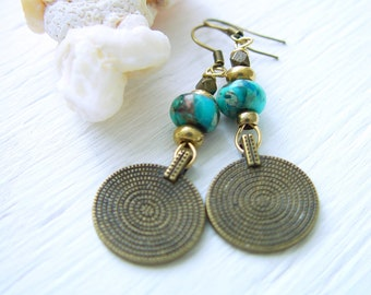 Tribal Coin Jewelry Coin Jewelry Coin Earrings Ethnic Indian Earrings with Coins