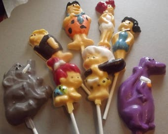 Flintstones Set Chocolate Candy Lollipops