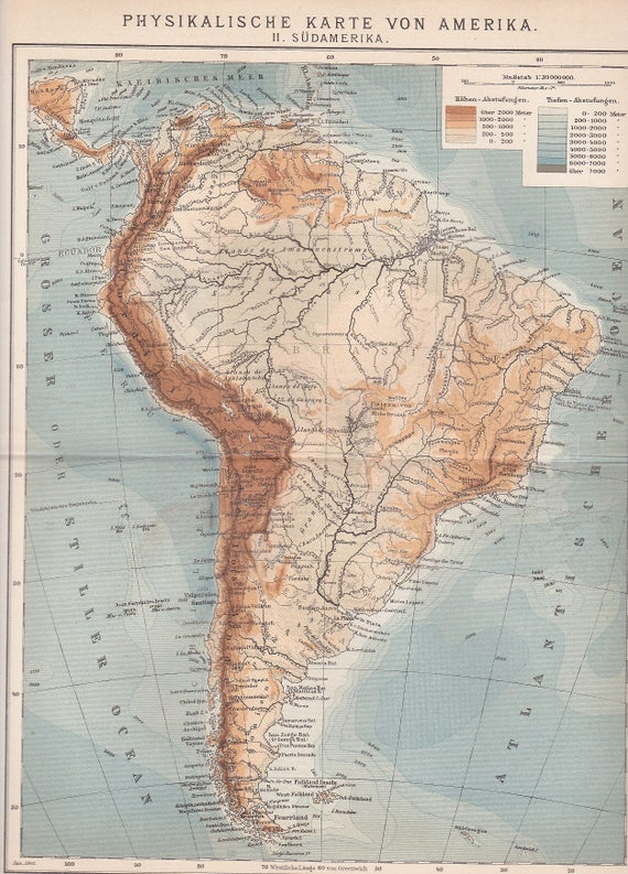 1901 South America - Geographical Map with Andes, Amazonas River, Atacama  at the beginning of the 20th Century Original Dated Antique Map