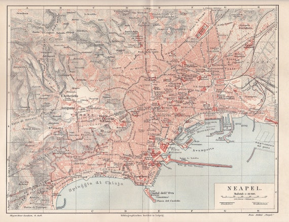 1906 City Map of Naples or Napoli, Italy with the Harbour and Old Town at  the Beginning of the 20th Century Original Antique Political Map